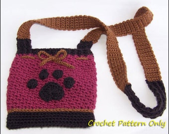 Dog Treat Pouch - CROCHET PATTERN - Dog Paw Purse