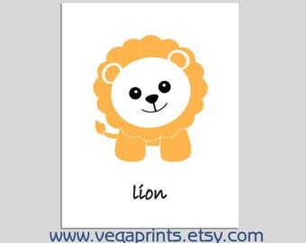 Lion wall art print -UNFRAMED - baby boy wall art,nursery art print, aqua, lion wall art print