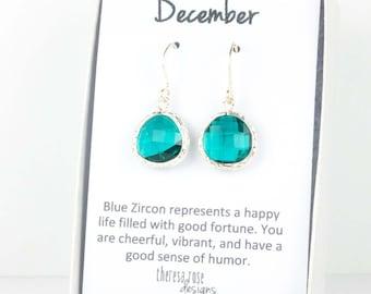 December Blue Zircon Birthstone Silver Framed Dangle Earrings, Silver Earrings, Blue Zircon Silver Earrings, December Birthstone, #794