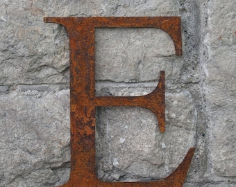 Flat Metal Rusty Letter E / Metal / Letter / Garden / Industrial / Vintage / Rustic / Floral / Gift / Wedding / Home / 25cm