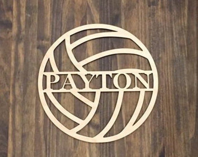"""18"""" Wood Volleyball Last Name Team Name Laser Cutout Sport Shape Unfinished"""