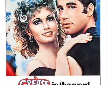 "Grease - John Travolta - Olivia Newton-John - Movie Musical Poster Print - 13""x19"" print - Home Theater Media room decor - Dance poster"