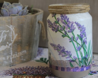hanmade vase with lavender 15325