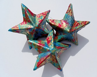 Star Ornaments, Set of 3 star ornaments, Christmas ornaments