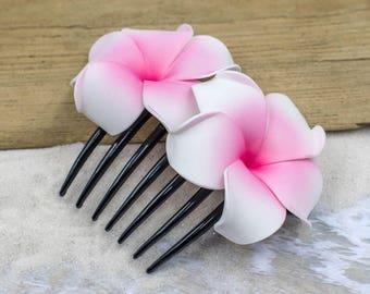 Beach  Flower Hair Comb,  Choose The Color, Hair Combs,  Plumeria, Beach Accessory