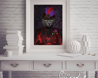Cat Portrait, Steampunk Cat Portrait, Cat Portrait Custom