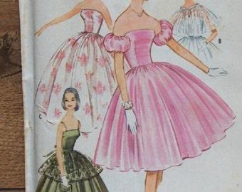 vintage 60s McCAlls pattern 5452 misses evening special occasion dress and cape/apron sz 12Teen  b32 uncut