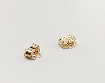14K Solid Gold Earring Backings - Premium Quality Replacement Solid Gold Ear Nuts - Butterfly Backings