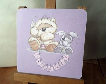 Hand made little bear and rabbit ' Friends' greeting card