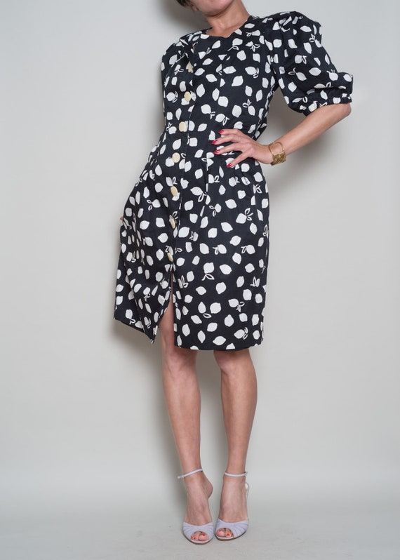 LAROCHE GUY Puff Sleeve Detail L Black 1980s Dress Button White 5dfpw1w7q