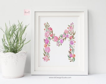 Initial Print, Floral Letter, Printable Art, Nursery Print, Monogram Print, Letter Print, Nursery Wall Art, Wall Decor, Christmas Gift DT234