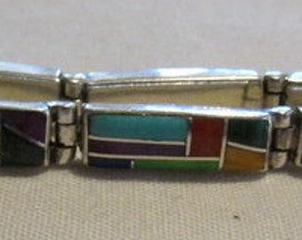 Sterling Silver Inlay Link Bracelet