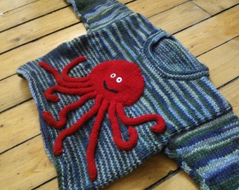 Hand-Knit Children's Octopus Pullover Size 4