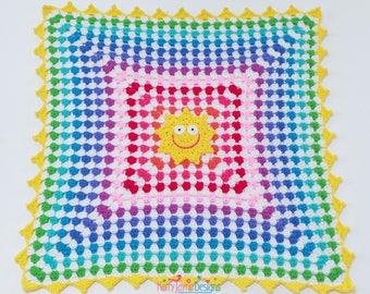 Crochet Blanket Pattern SUNNY RAINBOW Granny Square Blanket Pattern Crochet Baby blanket pattern With Crochet Tutorial pattern Instant Pdf