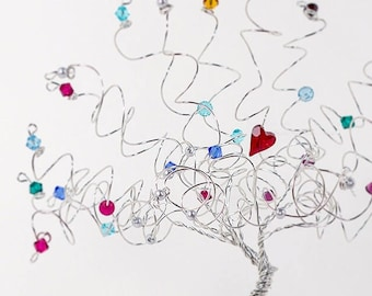 Heart of the Family Mother Grandmother Birthstone Family Tree Wire Tree Art Sculpture Custom Personalized Family Tree