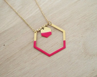 Necklace Hexagon red Mint Strawberry - enameled jewelry