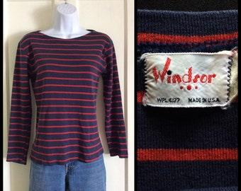Vintage 1960's French Sailor Striped Long Sleeve Boat Neck T-shirt looks size S Red Navy Blue