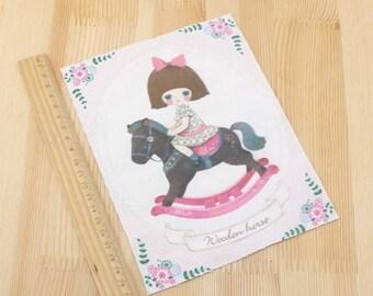 Patchwork rocking horse fabric coupon