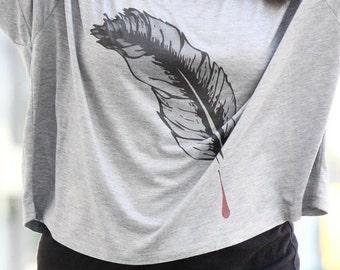 Feather Design - CROP TOP SHIRT -  Feather Art Graphic T Shirt- Women's Shirts - Women's Graphic Tee - Yoga Clothes - Yoga Shirt - Yoga