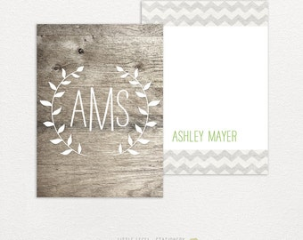 Personalized stationery. Wood Monogram. 25 cards & envelopes