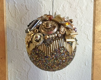 FREE shipping Vintage Jewelry Ornament, Handmade, Christmas Ball, Holiday Decoration, Gold Bead Ornament, Christmas Ornament
