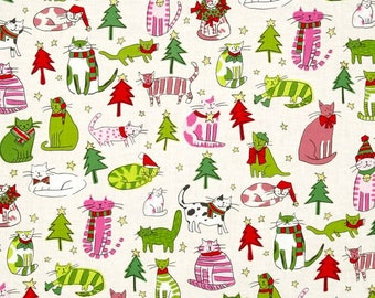 Christmas Time Jingle Cats Natural/Pink Color  ~ Christmas Time Collection from Alexander Henry Cotton