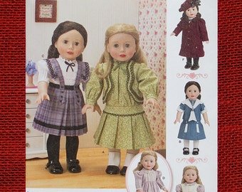 "Simplicity Sewing Pattern 1179, 18"" Size Girl Doll Clothes, Dress Blouse Skirt Pinafore Hat, Vintage Style Fashion, Keepers Dolly Duds UNCUT"