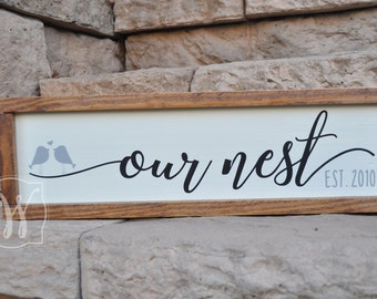 Our nest sign, rustic wood sign, rustic wall decor, wood sign, Our Nest established sign, Framed sign, Wedding Gift, housewarming