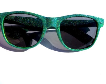 Green Holographic Glitter Sparkly Wayfarer Style Sunglasses