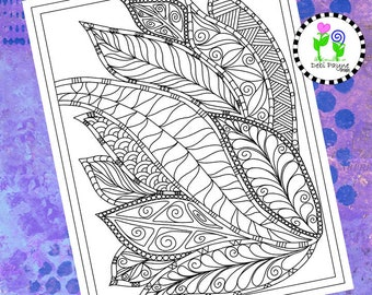 Abstract Doodle Design 07 Instant Download Coloring Page