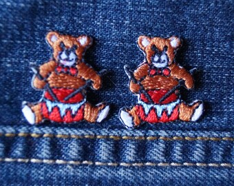 Tiny Twin Teddy Patches  / Vintage Jean Jacket Patches / Teddy Bear Drummers / Sewing Patch Jeans Jacket Bag / Vintage Teddy Bear Fan Fun