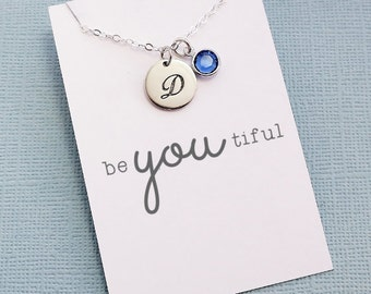 Personalized Initial Birthstone Necklace   Monogram Disc Charm, Personalized Jewelry, Cursive Initial, Letter, Crystal   Silver   X03