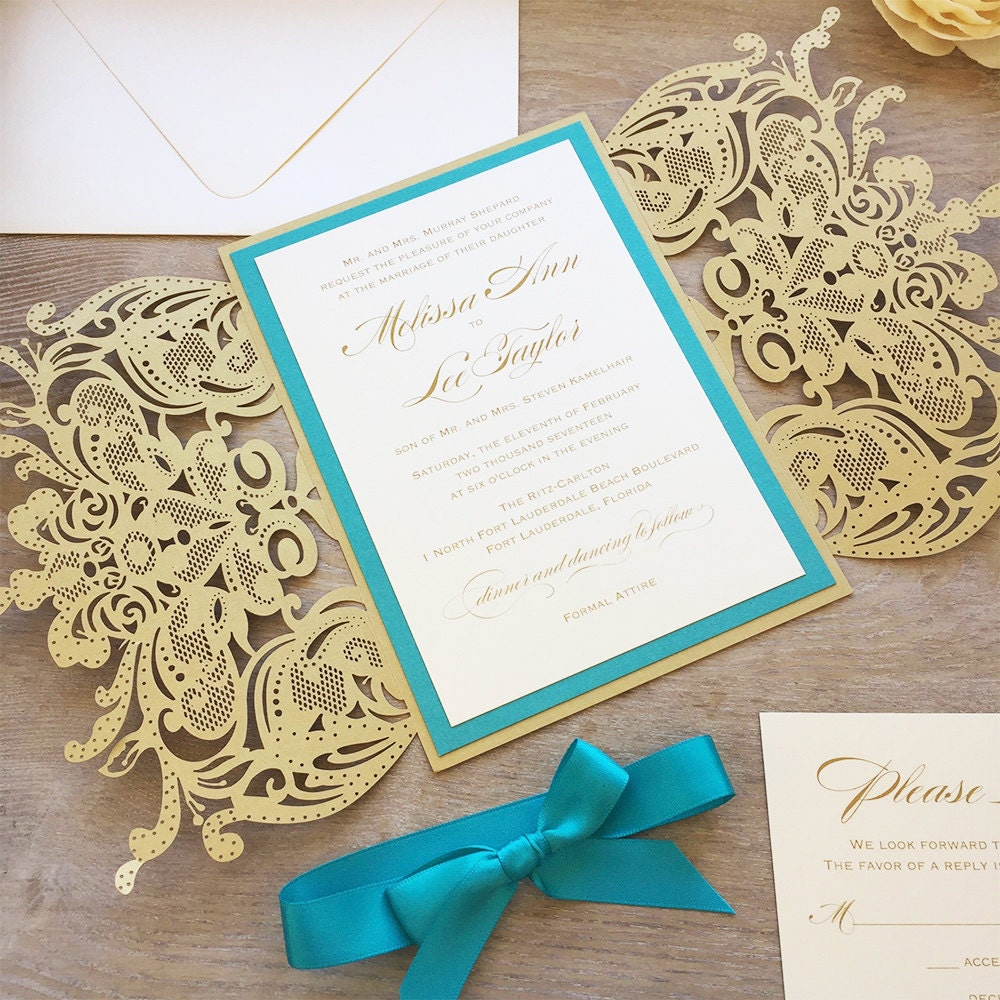 MELISSA - Gold Laser Cut Wedding Invitation with Teal Accents and ...