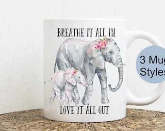 Mother and Baby Elephant Coffee Cup - Elephant Travel Mug - Personalized Coffee Cup - Elephant Coffee Tumbler - Customizable Cup - Mom Gift