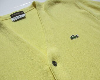 Vintage IZOD Lacoste jaune Mens chemisier Cardigan Sweater Woolf frères