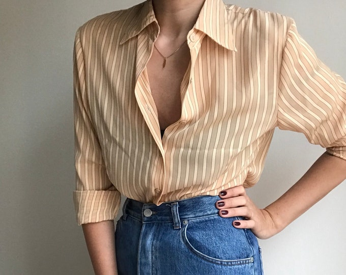 90s Vintage Nude Button Up