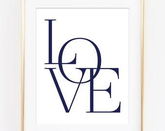 Love Print, Love Wall Art, Love Printable, Typography Poster, Navy Typography, Navy Wall Art, Love Sign, Love Art Printable, Nursery Decor