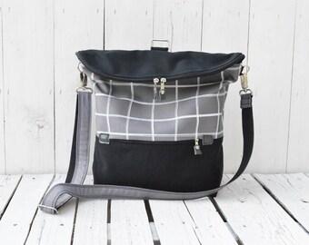 Black Grey Canvas Backpack, Unisex Messenger Bag, School Backpack, Shoulder Bag, Crossbody Bag, Grey Plaid Rucksack, Large Laptop Backpack