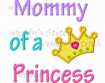 mommy of a princess crown applique machine embroidery design
