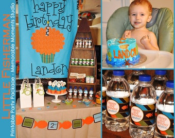 PRINTABLE PARTY PACKAGE Little Fisherman - Fishing Birthday Party Package - 80 dollar value for only 40 dollars - Memorable Moments Studio
