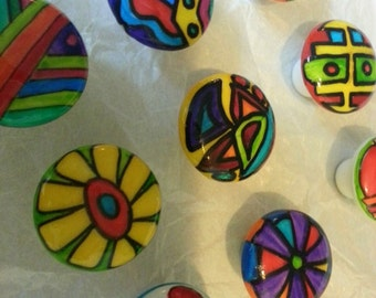Big Things Small Packages hand painted whimsical knobs ART