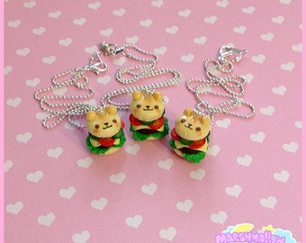 Kawaii bear burger necklace