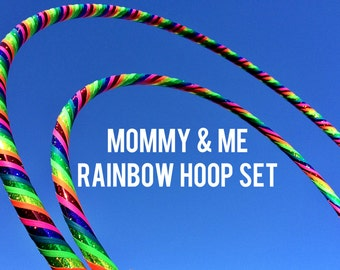 TWO Love and Light Dance & Exercise Hula Hoops - COLLAPSIBLE or Push Button Fitness Mommy and me rainbow