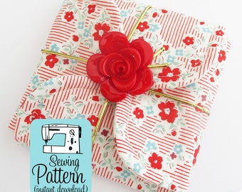 Petal Gift Pouches PDF Sewing Pattern | Sew three sizes of fabric petal envelopes to use for gift wrap box, storage pouches, etc.
