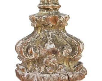 Original Portuguese 18th Century Baroque, Floor Base Candelabra from an Altar, Rococo Wood Carved Gilt, Religious