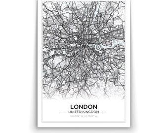 simple scandi city map london or custom city wall art print poster canvas