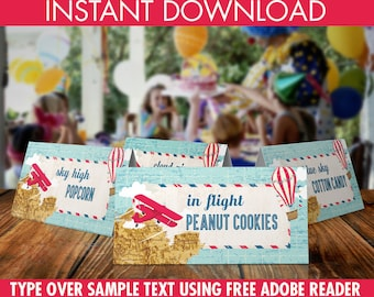 Airplane/Hot Air Balloon/Aviator Party Food Labels -Buffet Tags,Name Placecards, Retro Aviator Birthday - DIY Instant Download Printable PDF