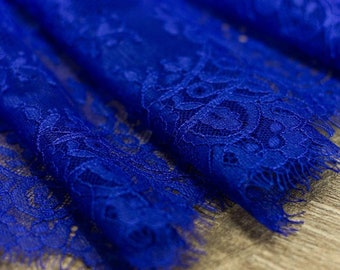 Royal blue chantilly lace Buy the yard French Chantilly lingerie lace Bridal lace Evening Lace French lace fabric Blue lace Soft lace fabric