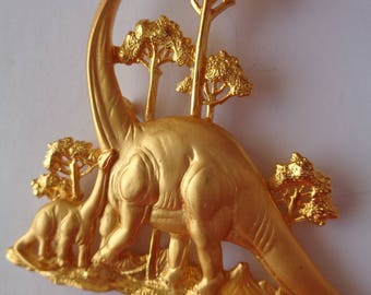 Vintage Signed JJ Large Gold pewter Dinosaur Family Brooch/Pin