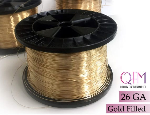 1 meter 328 feet yellow gold filled wire thickness 26 ga 04mm 1 meter 328 feet yellow gold filled wire thickness 26 ga 04mm also available in bulk spools gold filled wire 26 gauge greentooth Choice Image
